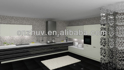 Pure white UV MDF modular kitchen cabinet