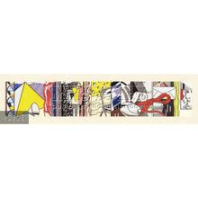 Handmade Roy Lichtenstein pop art painting, Sketch for Greene Street Mural, 1983