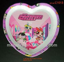 c1013 22.5*21.5*2.3cm melamine heart plate