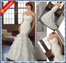 2013 sweetheart mermaid organza bridal gown with hand made organza flower bridal sexy fashion
