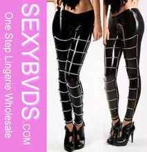 Pumk Wet Look Black Leggings With Silver&Golden Embellishment Women Sexy Leggings Pics FG0126