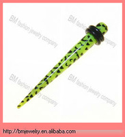 uv acrylic ear taper with o rings printed animal sexy piercing jewelry rings in green color