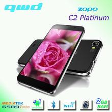 Mobile Phones Gorilla Glass 2 ZOPO C2 MTK 6589T Platinum RAM 2GB+ ROM 32 GB Smart Mobile Phone,ZOPO C2+ Mobile Phone