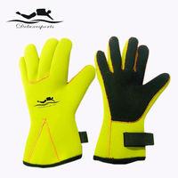 neoprene dive glove kevlar fingerless gloves fluo yellow gloves