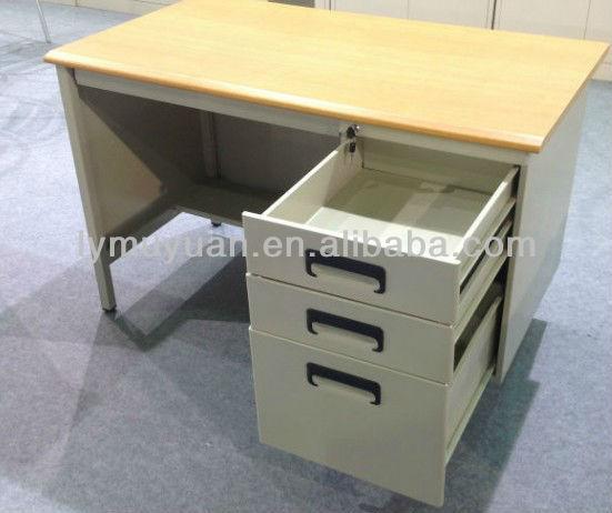 steel desk with wooden top
