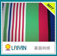 poly cotton spandex single jersey yarn dyed engineering stripe knit fabric
