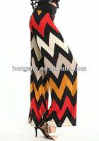 Wide leg knit pants in a fall tone chevron print HGS1756