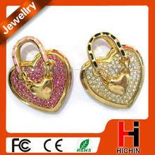 Heart lock shape diamond flash 2GB usb drives lover's gift