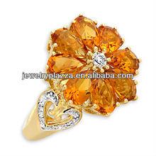 Wholesale 925 Fashion Silver Rings Jewelry,Richard Palermo Citrine & Diamond Ring(M-1699)