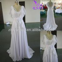 2013 Zhenzhen muslim flowing two layers chiffon bridal dress HY-065
