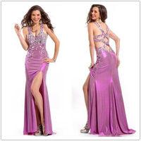 YED11052 Gorgeous sexy back open beaded side slit pakistani dubai dress