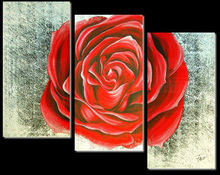 high quality canvas handmade pink rose flower oil painting