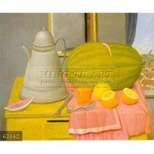 Handmade Fernando Botero still life oil painting, Still Life With Watermelon 1992