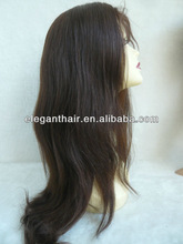 human hair full lace wig with soft and no shine hair