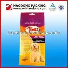 custom soft plastic pet food packaging bag with see through window