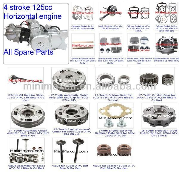 ATV Spare Parts Moped Parts Motorcycle Parts CG/CB/CG/GY6 50/70/90/110/125/200/250cc 4-Stroke 125cc Horizontal Engine