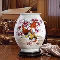 hermosa maestro chino pintado a mano famille rose de cerámica de porcelana la foto de familia florero con la certificación