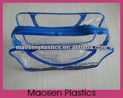 Fabric Handle Blue fleck PVC Shopping bag