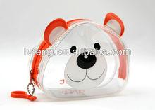 dog print style zipper round cute clear pvc hand bag