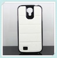 hard Luxury chrome leather phone case for samsung galaxy s4 i9500