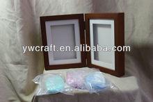 3d del bebé de madera hechos a mano huella kits de marco de fotos para 2013 de navidad