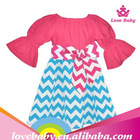 Hot Pink / Turquoise Peasant Chevron Dress