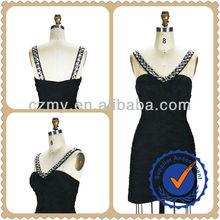2014 New Fashion Black Cross Pleated Woman Party Dress MY-12148