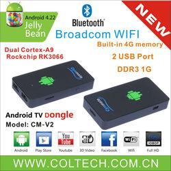 hot sale!!!dual-core android 4.2 mini tv dongle