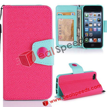For iPhone 5C Leather Shells!For iPhone 5C Double-Color Wallet Stand Leather Shell With Wrist Strap Design(Pink/ Blue)