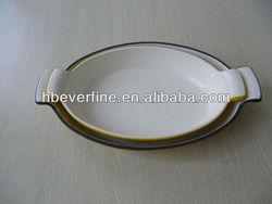 "13"" Enamel Ware Cast Iron Casserole Pan Au Gratin Dish"