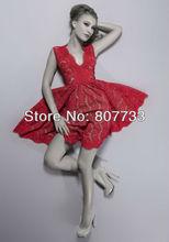 CW099 Adorable V-Neck a line red lace party cocktail dresses 2013 short evening dress