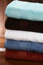 Cotton satin border bath towel