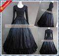 Decote quadrado preto medieval vestido gótico vestido preto r-043
