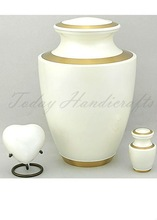 Brass Pearl White Cremation Urn