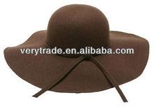 Vintage 100% Wool Felt women lady Wide Brim Floppy Hat with Bow knot dark gray