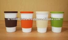 eco friendly mug silicone lid silicone sleeve