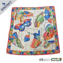 100% polyester real satin silk scarf
