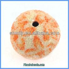 Wholesale Orange & White Round Indonesia Fashion Resin Beads PCB-M100566
