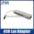 Usb 2.0 Lan tarjeta de red 10 / 100 Mb adaptador con cable y 3 HUB