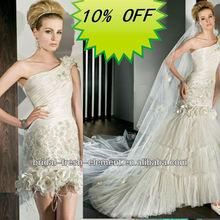 Hot Sale Long Good Quality Tulle One Shoulder Lace Appliqued Removable Skirt Wedding Dress