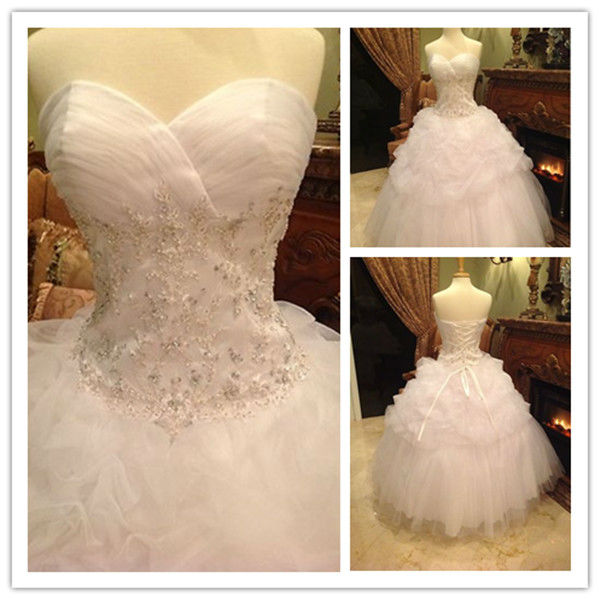 W0115 Real Samples Glamorous 2013 Fashion Ball Gown Sweetheart Lace Beads Ruffles Long Wedding D ...