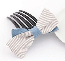 PH054 2013 New design fashion grey stripe double bow hair fork decorative hair combs