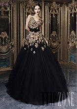 LBN-063 Middle East Lebanese Designer Rami Kadi's Black Long Evening Dress