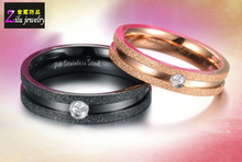 Frosting surface with a groove in the center Stainless Steel gold couple ring(CR8934-1)