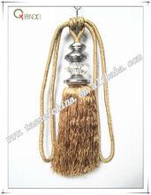 high quality brown tassel tieback, long tassel curtain fasten metal curtain tiebacks for home decor