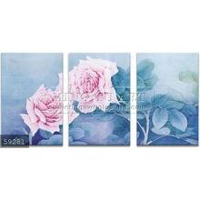 Handmade Modern Group rose Oil painting,pink on blue bg
