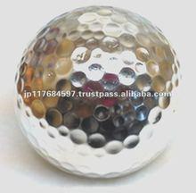 silver colored unique golf ball