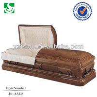 Diversified half view wooden funeral walnut memorial casket