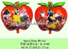 Snowwhite printed apple shaped big helium mylar balloons