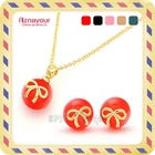 [Aznavour] Lovely &amp; Cute Star Ball Gold Ribbon Jewelry SET #N282set (5 Colors)